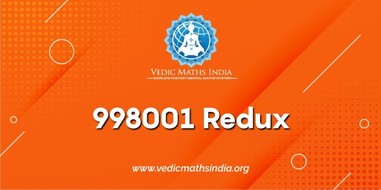 998001 redux - vedic maths