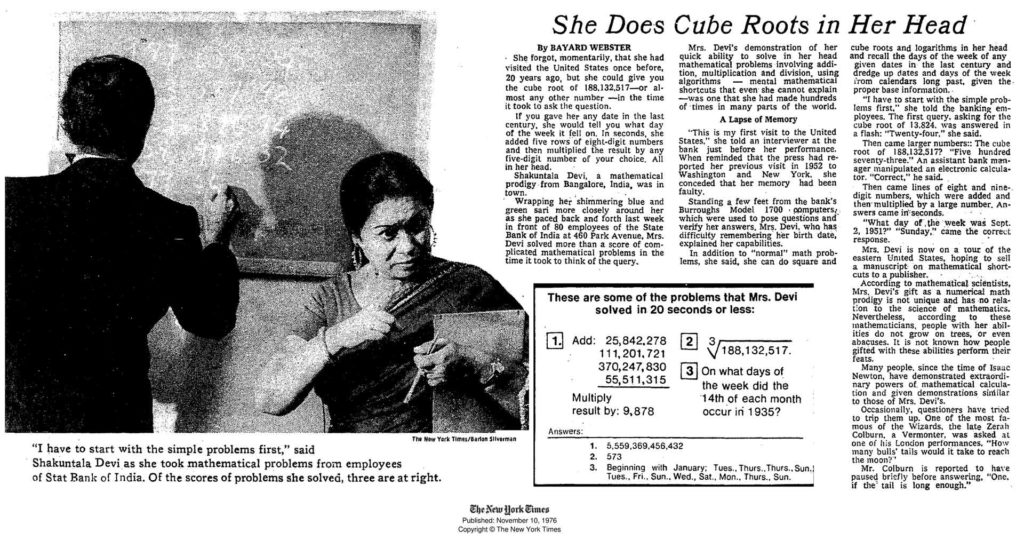 News article on Shakuntala Devi